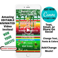 EDITABLE Fiesta Animated Video Invitation - Christmas Fiesta Invite - Fiesta Birthday Evite - Instant Download - Canva Template by Hostessy on Etsy Fiesta Theme Party, Party Themes, Bachelorette Decorations, Bachelorette Weekend, Perfect Party, Best Part Of Me, Animated Gif, Create Yourself, Animation