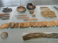 Pottery and metal plates exhibited at the Viking Ship Museum, Oslo, Norway.