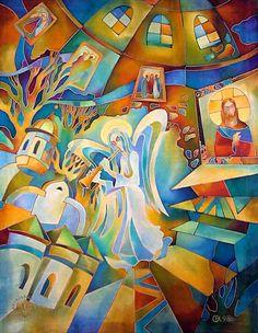 Казакова Наталья Ивановна Батик и роспись по ткани Ангел Жанровая картина Импрессионизм Шелк, холодный батик. 90х70 1998 батик церковь ангел