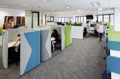 Create spaces within spaces with Allermuir Haven Pod! Integrate brand colours. I love the dart detail. Interior by Geyer, activity based working at Bupa, supplied by Zenith Interiors
