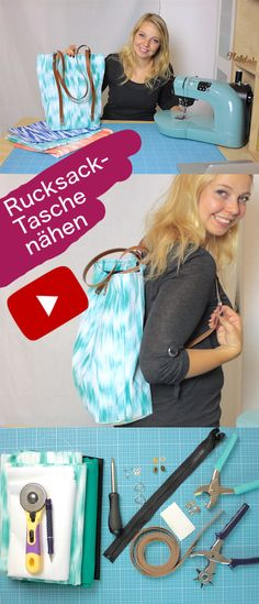 Sewing backpack bag with leather straps and studs - free .- Rucksack-Tasche nähen mit Lederriemen und Nieten – kostenlose Videoanleitung vo… Sewing Backpack Bag with Leather Straps and Studs – Free Video Tutorial by DIY Owl - Sewing Tutorials, Sewing Patterns, Bag Tutorials, Knitting Patterns, Pochette Diy, Leather Bag Tutorial, Diy Backpack, Diy Couture, Fabric Bags