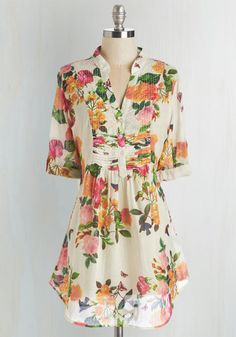Back Road Ramble Tunic in Morning Garden - Multi, Floral, Casual, Variation, V Neck, Multi, Work, 3/4 Sleeve, Tab Sleeve, Cotton, Long