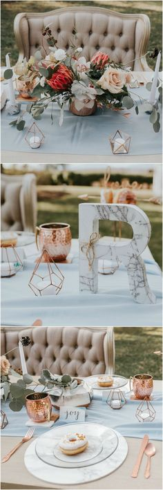 Modern romance, pastel blue wedding design, copper cutlery, marble accents, donuts, classic padded love seat, protea centerpiece // Haniel Singh Photography