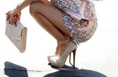nude heels and clutch, patterned dress.