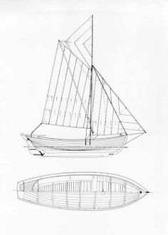 Sprit rigged Danish open boat with bowsprit and topsail