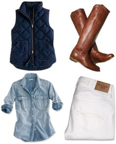 Perfect casual outfit with J-crew chambray shirt... click on picture to see more