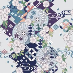 Japanese Textiles, Japanese Fabric, Japanese Prints, Chinese Patterns, Japanese Patterns, Japan Design, Pattern Paper, Pattern Art, Kimono Pattern