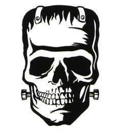 Frankenstein Tattoo, Bride Of Frankenstein, Zombie Silhouette, Silhouette Art, Blackwork, Zombie Pin Up, Rock Tattoo, Graffiti, Neue Tattoos