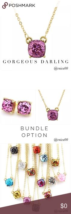 """🆕Listing! Purple & Gold Glitter Pend. Necklace Dare to Dazzle with my Shiny Glitter Accessories that are on their way! Perfect for the Holidays or any time!✨16K Gold Filled, Purple Glitter Shiny Square Pendant on Gold Chain!  ✨Matching Earrings will also be available! Bundle for Discount!  • 16K Gold Filled • Nickel & Lead Free • Pendant measures ~0.4"""" X 0.4""""  ➖Prices Firm, Bundle for 20% Discount ➖""""Trade"""" & Lowball Offers will be ignored ➖Sales are Final, Please read Description & Ask Any…"""