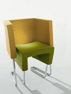Sled base armchair RON-ALDODOWN by @Bonaldo   #design Ron Arad #colour #yellow