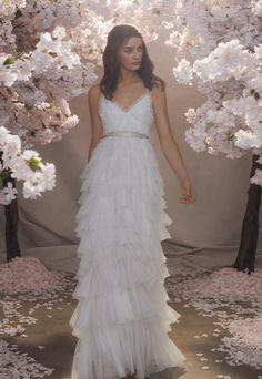 Discover our new bridal collection, 'Fallen For You', featuring tiered ruffle wedding gowns, embellished wedding dresses and soft ombre ballerina length skirts. Needle And Thread Wedding Dresses, Bridal Gowns, Wedding Gowns, Wedding Girl, Party Gowns, Traditional Gowns, Embellished Dress, Beautiful Gowns, Bridal Collection