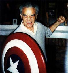 Jack Kirby with Captain America shield. A character he co-created with Joe Simon. Comic Book Artists, Comic Artist, Comic Books Art, Disney Marvel, Marvel Vs, Marvel Comics, Sci Fi Authors, Jack Kirby Art, Art