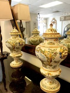Hand-Painted French Faience Lidded Vases, Pair.