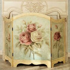 Fire Screen with shabby romantic roses print