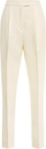 GIAMBATTISTA VALLI White Crepe Flat Front Trousers - Lyst