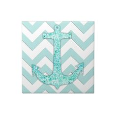 Aqua Glitter Nautical Anchor chevron tiles