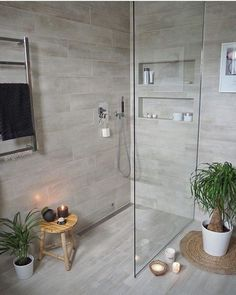 Most Popular Small Bathroom Remodel Ideas on a Budget in 2018 This beautiful look was created with cool colors, and a change of layout. Wood Bathroom, Modern Bathroom, Master Bathroom, Beige Bathroom, Bathroom Tile Colors, Tranquil Bathroom, Bathroom Niche, Master Shower, Bathroom Design Small