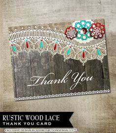 Rustic Lace Wedding Thank You Card printable by OddLotEmporium, $12.00 DIY Download and Print! #greetingcard #rustic #thankyou