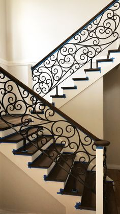 Wrought Iron Stair Case railing custom made by Adoore Iron Design located in Mel. : Wrought Iron Stair Case railing custom made by Adoore Iron Design located in Melbourne. Indoor Stair Railing, Modern Stair Railing, Wrought Iron Stair Railing, Stair Railing Design, Staircase Railings, Modern Stairs, Stair Case Railing Ideas, Front Porch Railings, Wrought Iron Decor