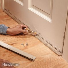 install a door bottom weather strip to wooden doors for an effective and almost invisible airtight seal and to stop drafts.
