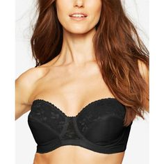 Carnival Full-Coverage Lace Strapless Bra 123 ($44) ❤ liked on Polyvore featuring intimates, bras, black, lace underwire bra, lace strapless bra, full coverage underwire bra, full coverage strapless bra and no strap bra