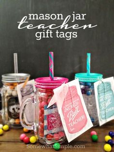 "Mason Jar Teacher Gift Tags for Your ""Incredi-BALL"" teachers . Take a look at all these ways to show your teacher you are thankful with these FREE Teacher Appreciation Printables plus more teacher appreciation Ideas on Frugal Coupon Living.."