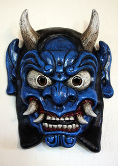 Demon Mask Japanese Oni Blue by FAUSTandCOMPANY on Etsy