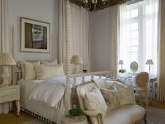 Phoebe Howard bedroom- love the bed ( need short posts) with my gray settee