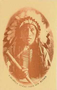 New Mexico NM 1900s A Jicarilla Apache Indian Chief Headress Vintage Postcard