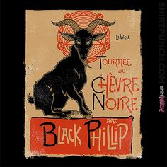 Black Phillip, Day Of The Shirt, Thing 1, Witch Aesthetic, Tour T Shirts, Shirt Shop, Goats, Pop Culture, Moose Art