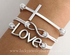Cross bracelet, Love bracelet, infinity bracelet, white wax cords bracelet