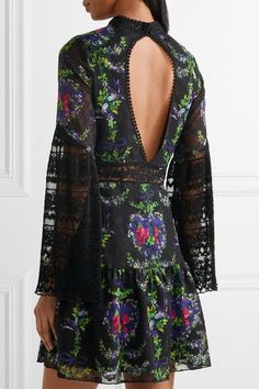 Multicolored fil coupe chiffon, black plissé lace Concealed hooks at neck, concealed zip fastening along side 100% polyester Dry clean