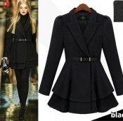 Black Trendy Long Sleeve Wool Celebrity Belted Pleated Coat