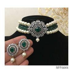 Buy Pearl Choker online from VinothnaDesigns Wedding Jewellery Designs, Antique Jewellery Designs, Jewelry Design, Pearl Necklace Designs, Gold Earrings Designs, Gold Necklace, Indian Jewelry Sets, Beaded Jewelry, Gold Jewellery