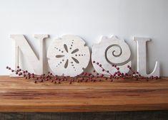NOEL decorazione di Natale spiaggia costiera parola di seasawsign, $79.00