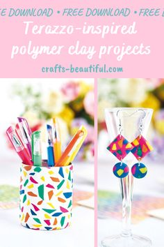 From stationery, to jewellery and card toppers, we love this terrazzo-inspired project Polymer Clay Projects, Polymer Clay Creations, Crafts Beautiful, Terrazzo, Craft Tutorials, Card Making, Stationery, Shapes, Jewellery