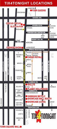 Tix4Tonight Map of Las Vegas Strip