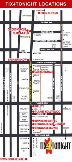 Tix4Tonight Map of Las Vegas Strip