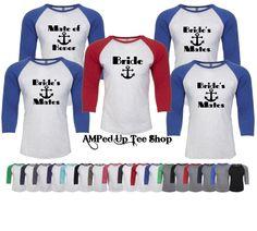 Set of 6 Bridesmaid Nautical Brides Mate Raglan Shirts, Bride Tank Top, Bridesmaid Shirt, Bridal Party Shirts, Bachelorette Party Shirts by AMPedUpTeeShop on Etsy