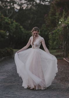 two piece wedding dress with tulle skirt