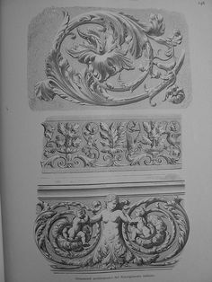 Architectural Prints, Architectural Antiques, Art Nouveau Illustration, Wood Carving Designs, Pottery Tools, Acanthus, Wood Engraving, Wall Sculptures, Sacred Geometry