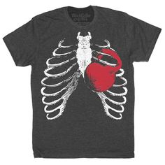 Men's Gym Ribcage Kettlebell Workout T-Shirt by BlackCoffeeAndTees