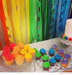 Rainbow cupcakes (store bought or home made).  Also, table decorations - streamers (crepe paper) and paper chains.
