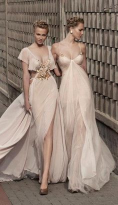 Nude colour wedding gown. Galia Lahav