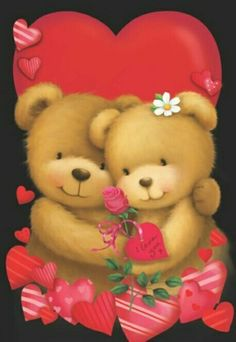 Valentine's - Gabi Murphy Tatty Teddy, Teddy Bear Cartoon, Cute Teddy Bears, Cute Images, Cute Pictures, Image Halloween, Beautiful Love Pictures, Rice Paper Decoupage, Teddy Bear Pictures