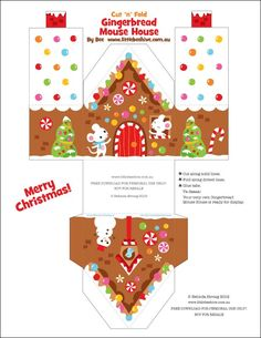 Printable Gingerbread House Designs ~ Be Different.Act Normal (maybe there is a way to adapt this template to make gingerbread house boxes to give away cookies and other treats in--that would be super awesome) Christmas Gingerbread, Noel Christmas, All Things Christmas, Christmas Ornaments, House Ornaments, Christmas Sweets, Christmas Paper, Christmas Activities, Christmas Printables