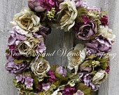 ON SALE Floral Wreath, Victorian Garden Wreath, Fall Wreath, Country French, Summer Wreath, Romantic Wedding