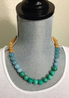 Color Block Agate Beaded Necklace by byTAlyse on Etsy, $18.00