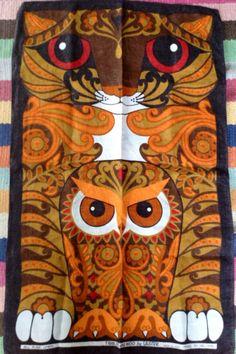 Irish Linen 1970's Tea Towel featuring Tibbles by Onmykitchentable