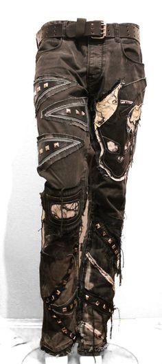 Rock handmaded denim pants with skull  paches by NewlineRockwear, $220.00